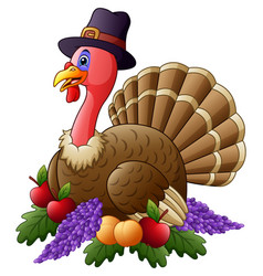 happy thanksgiving turkey with fruits vector image