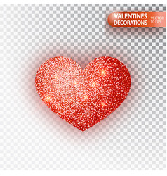 heart red glitter isoleted on transparent vector image