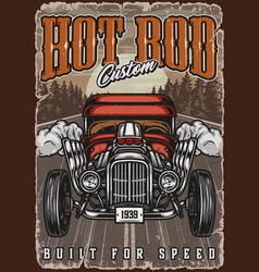 Hot rod colorful vintage poster vector