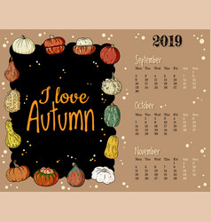 I love autumn cute cozy hygge 2019 fall monthly vector