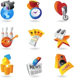 Icons for leisure travel sport and arts vector image
