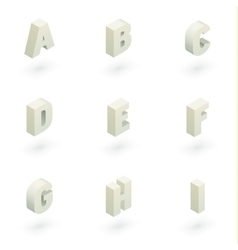 Isometric letters a to i vector image