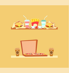 italian pizza in box and coffee burger and soda vector image