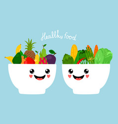 kawaii bowls with fruits and vegetables vector image