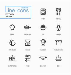 Kitchen utensils - line design icons set vector