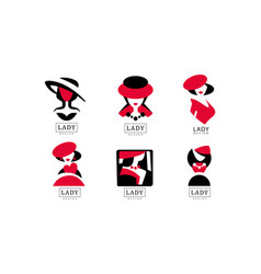 Lady logo design collection fashion and beauty vector