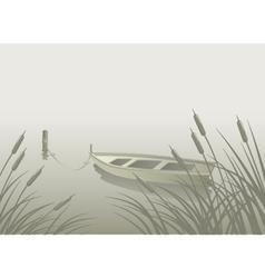 Lake boat reeds vector