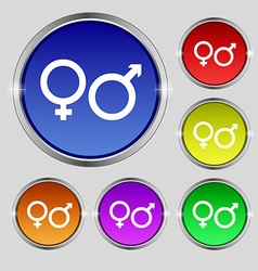 male and female icon sign Round symbol on bright vector image