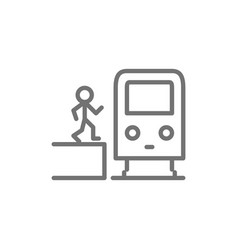 Man in metro waggon on platform train subway vector