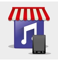 Mobile music online shop smartphone button vector