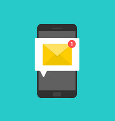 new email on smartphone screen e-mail envelope vector image