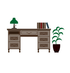 Office desk with shelves green lamp and books on vector