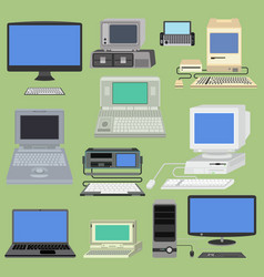 old retro vintage computer pc monitor and vector image