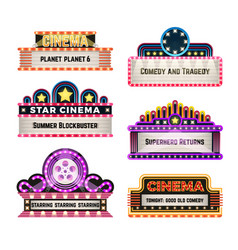 Old theater movie neo light signboards in 1930s vector