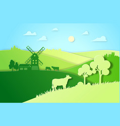 Paper design fields and meadow eco vector