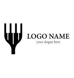 Piano fork logo template vector
