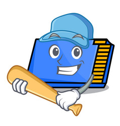 Playing baseball memory card character cartoon vector