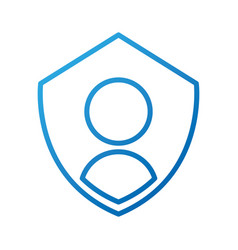 Privacy icon shield with person symbol protection vector