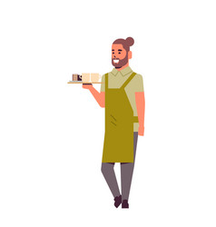 Professional waiter holding coffee and cake on vector