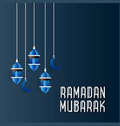 Ramadan blue background typography vector