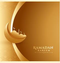 Ramadan kareem 3d style golden background design vector