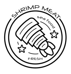 raw shrimp meat logo outline style vector image