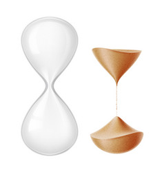 Realistic hourglass sandglass 3d mock up vector