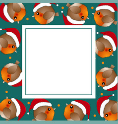 red robin bird santa claus on green banner card vector image