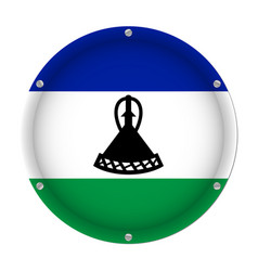 round metallic flag of lesotho with screws vector image