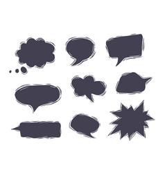 set blank speech bubbles in comic style vector image