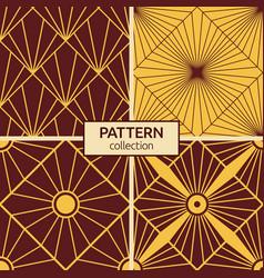 Set four seamless patterns art deco sunburst vector
