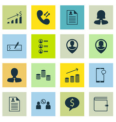 Set of 16 human resources icons includes wallet vector