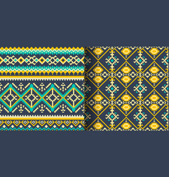 set of seamless ethnic patterns geometric design vector image