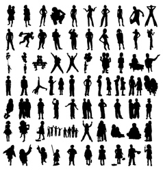 silhouette people vector image