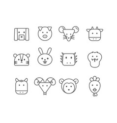 simple set thin line icons chinese zodiac vector image