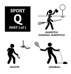 Sport games alphabet q icons pictograph quidditch vector