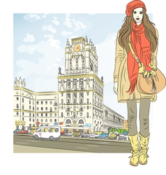 Stylish girl in the city-center vector