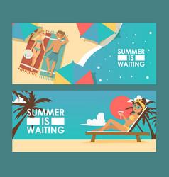 Summer vacation advertisement banner vector