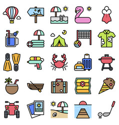 summer vacation related icon set 2 filled style vector image