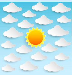 Sun sky clouds vector
