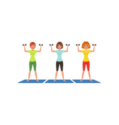 three fitness women workout with dumbbells cute vector image