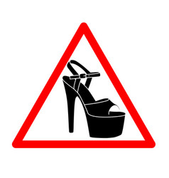 Triangle with shoes inside heels icon vector