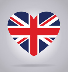 union jack united kingdom flag in heart shape vector image