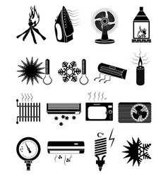 Ventilation icons set vector