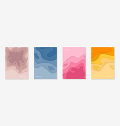 Vertical banners set with 3d abstract background vector