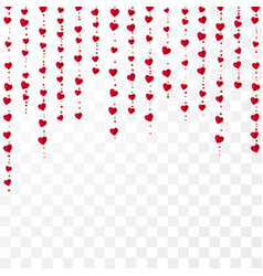 vertical red heart garlands valentines day vector image
