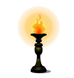 Vintage burning torch on stand facing the floor vector
