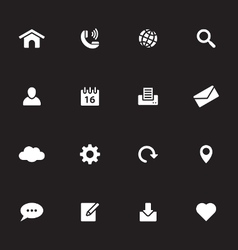 White simple flat icon set 1 vector