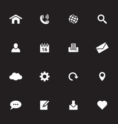 White simple flat icon set 1 vector