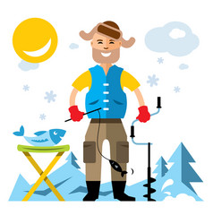 winter fishing flat style colorful cartoon vector image